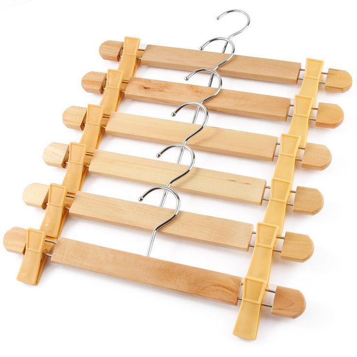 Six Wooden Pants Hangers