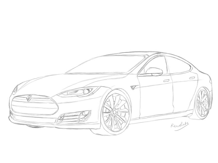Tesla Roadster Coloring Pages