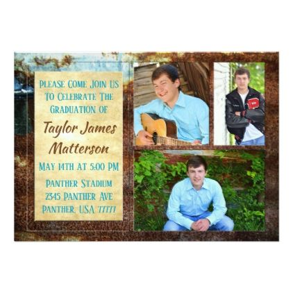 Rustic Aqua Multi Photo Graduation Invitations - invitations custom unique diy personalize occasions