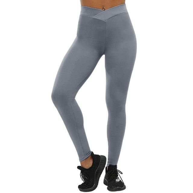 Workout Fitness Leggings Women Push Up Leggings Femme Highly Elastic Trousers Solid Gray XL