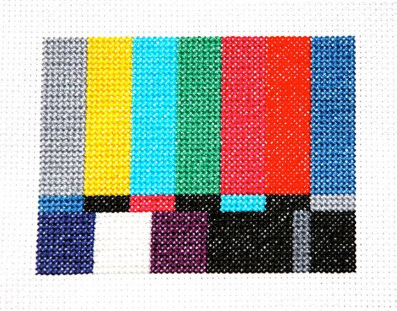 TV Test Screen Cross Stitch Pattern Instant by tinymodernist
