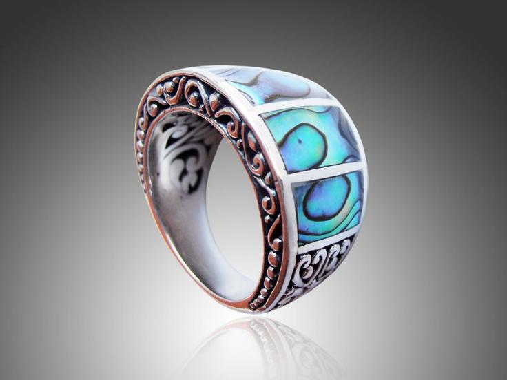 Bali Silver Jewelry Ring Wholesale Green Paua