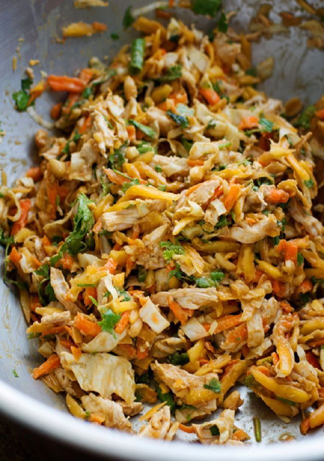 Thai chicken salad - if you can get past the quirky instructions on the website to actually make the recipe, it sounds like a pretty great dish to try.
