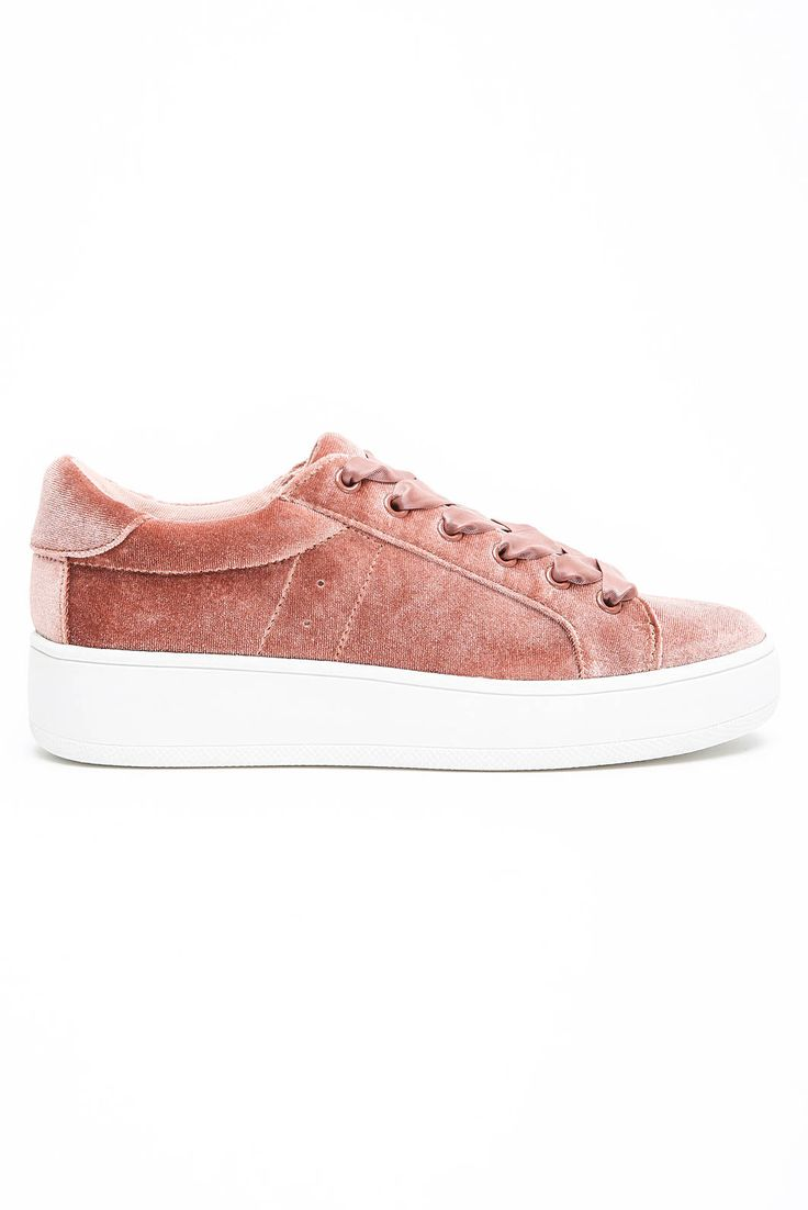 Steve Madden Bertiev Velvet Lace Up Sneakers in PINK