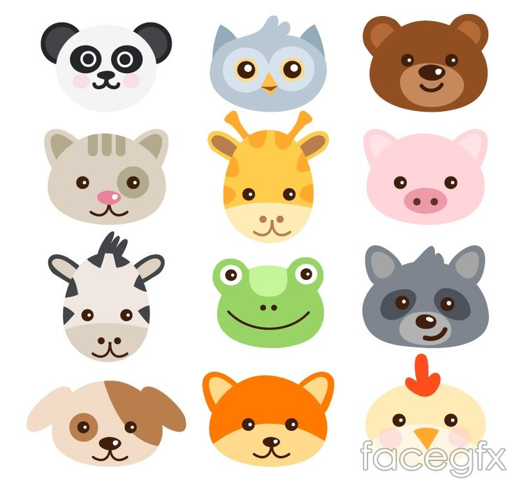 16 avatar cartoon animals vector