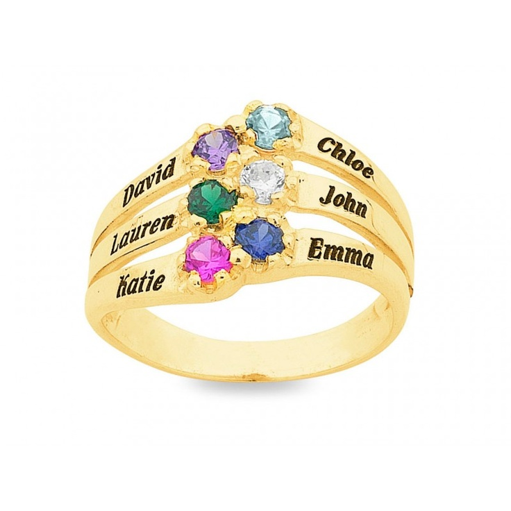 Personalised 6 Birthstone Name Ring 9ct Gold