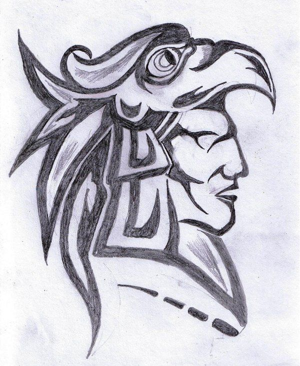 Aztec Warrior Face Tattoo Design | Tattoobite.com