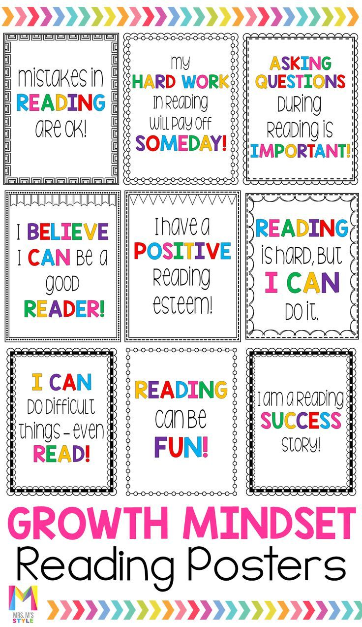 Growth Mindset Posters for Reading