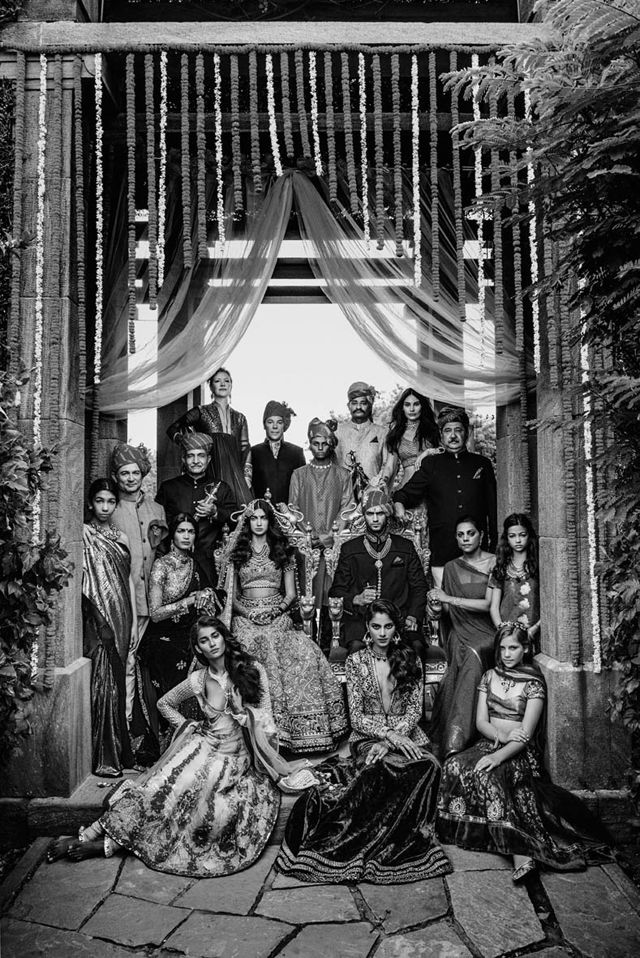 Boss Indian Family Portrait. Like the serious looks, environment, outfits and B&W.