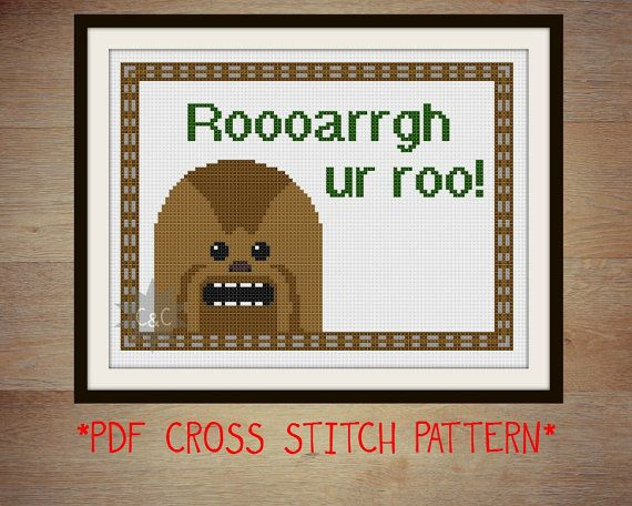 Star Wars Chewbacca quote cross stitch sampler by CapesAndCrafts