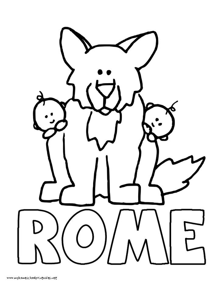 World History Coloring Pages Printables Wolf and Romulus
