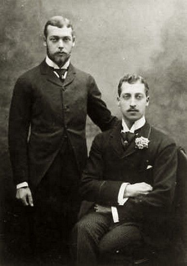 Prince George of Wales and brother, Prince Albert Victor, duke of Clarence and Avondale. Late 1880s