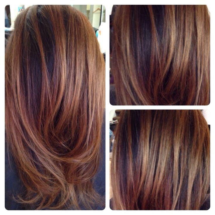 Balayage on dark hair... Love doing Carmel chestnut hi-lites for brunettes!