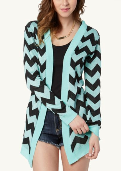 Chevron Cascading Front Cardi | Tops | rue21