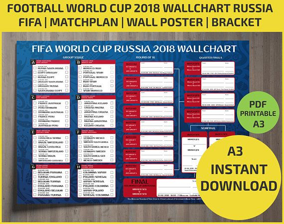 Wallchart Fifa 2018 World Cup Russia Pdf Printable Bracket World Cup Fifa World Cup Russia 2018