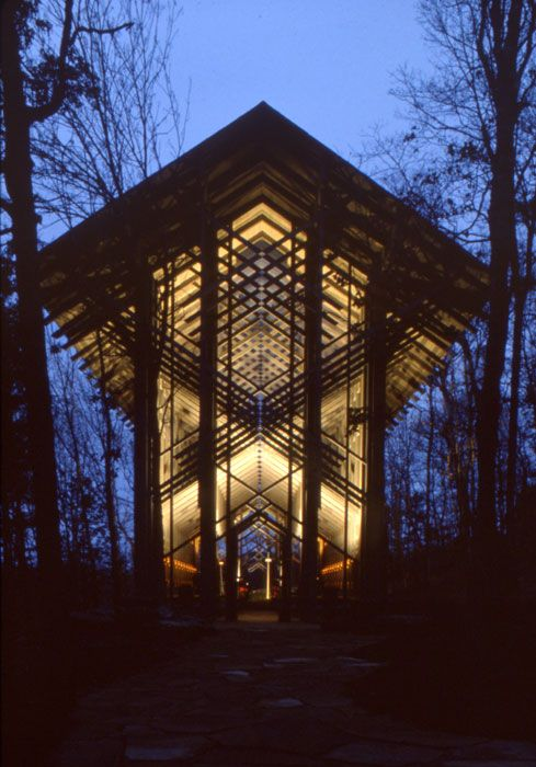 Night photograph of E. Fay Jones's award-winning Thorncrown Chapel in Eureka Springs (Carroll County).  Photo by Fay Jones. Fay Jones Papers. Courtesy of Special Collections, University of Arkansas Libraries, Fayetteville
