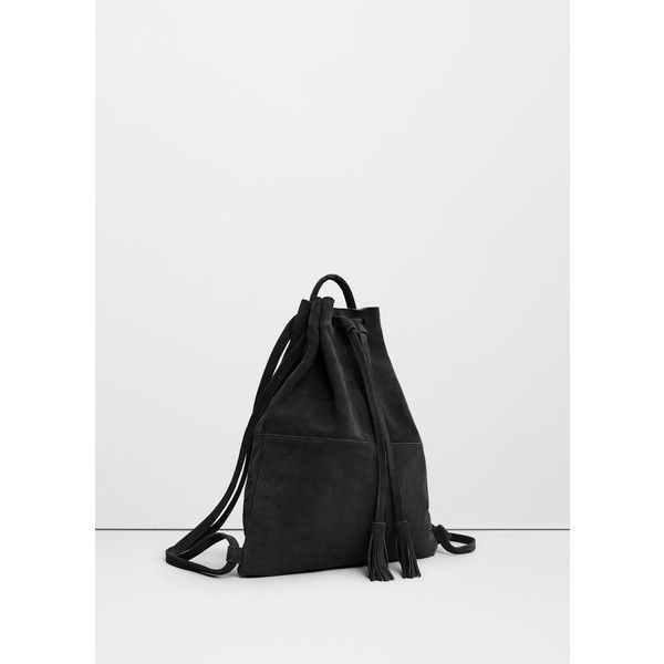 MANGO Leather Backpack ($80) ❤ liked on Polyvore featuring bags, backpacks, leather bags, knapsack bag, leather rucksack, genuine leather backpack and strap backpack