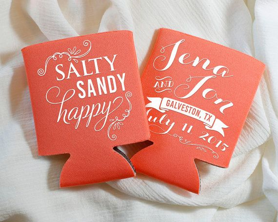 Personalized Can Cooler Wedding Favors Custom Coolers Beach Favor Destination Sandy