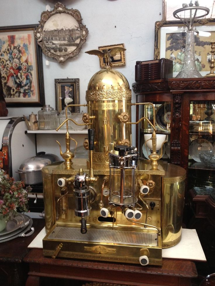 old school badass golden antique cappuccino espresso machine