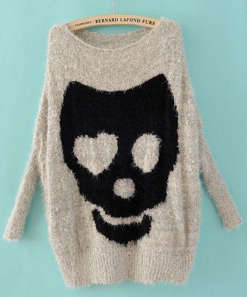 Grey Batwing Long Sleeve Skull Print Pullovers Sweater