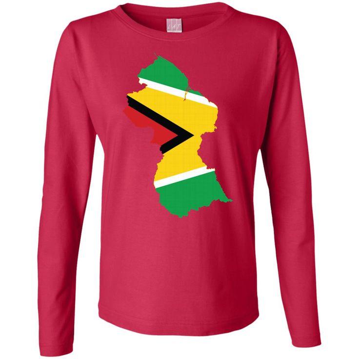 Guyana flag-01 Ladies' Long Sleeve Cotton TShirt