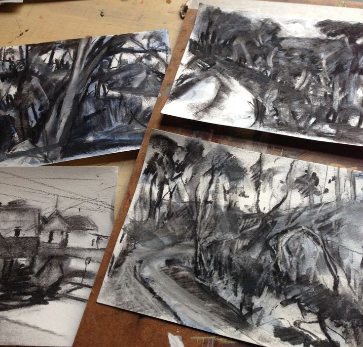 A selection of sketches. Charcoal and ink.