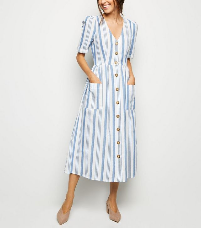 c00c07ab985c52 Cameo Rose White Stripe Button Midi Dress in 2019 | Minimalist ...