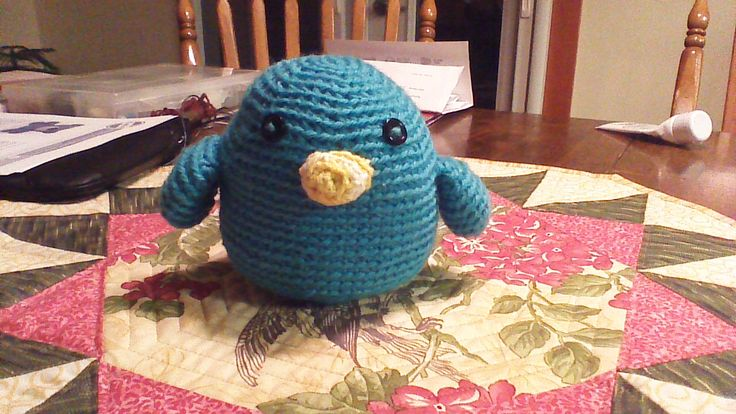 Lumpy the crocheted bluebird. <3