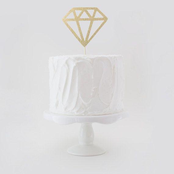 Diamond Cake Topper Wedding Shower Cake Topper Glitter