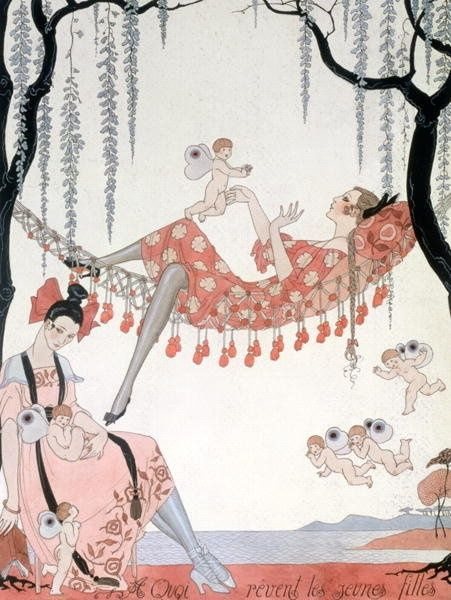 What do young women dream of?, an illustration by Georges Barbier, 1918