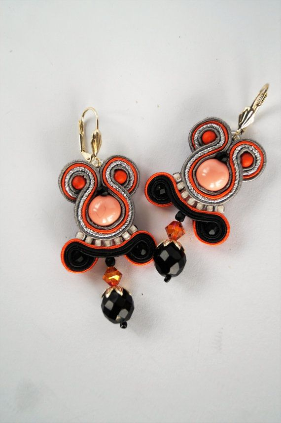 Soutache earrings Soutache pendenties Birthday gift for mom