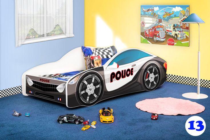Police Car Twin Platform Car Bed Frame for Children, Boys, Girls, Kids - Bedroom Furniture