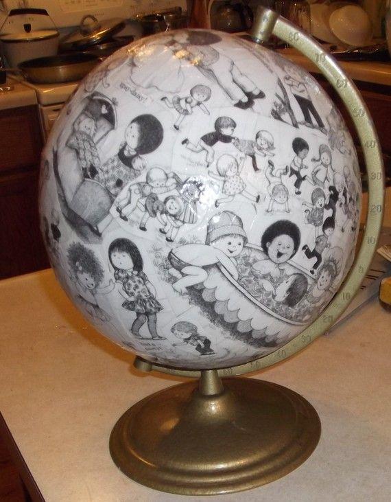 Black and white children's illustrations globe - great idea for 2's repurpose globe
