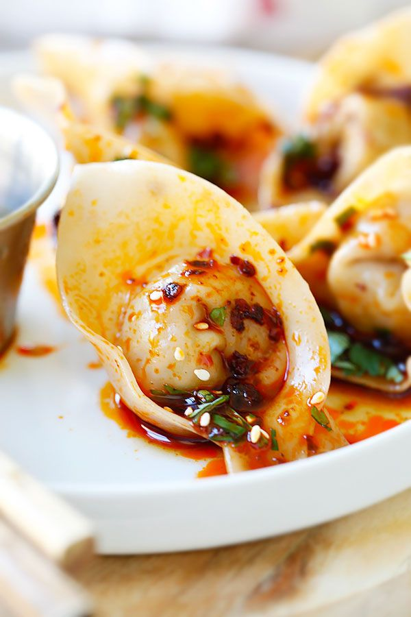 Sichuan Red Oil Wontons - delicious and mouthwatering spicy wontons in ...