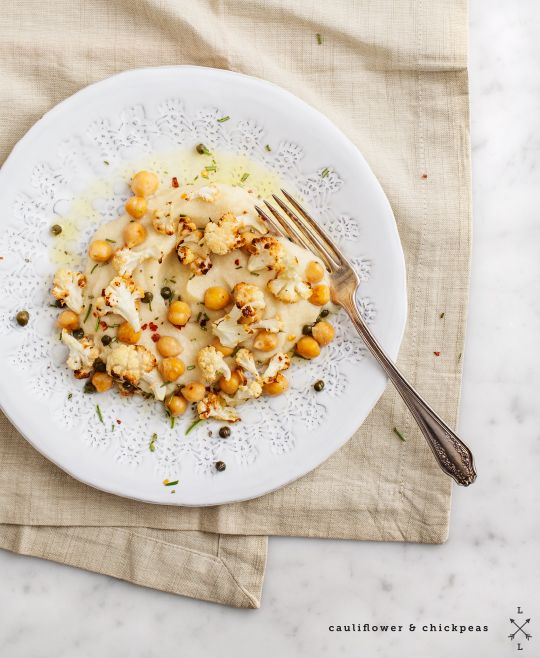 // cauliflower purée & roasted chickpeas / loveandlemons.com // perfect recipe for our Organic Butter Olive Oil. would also be great with our Garlic Olive Oil. also, try using our Spanish Rosemary Sea Salt to taste.