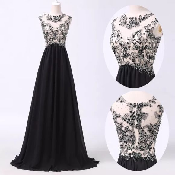 Long black prom dress Floor length, black and silver designs with see through mesh Dresses Prom