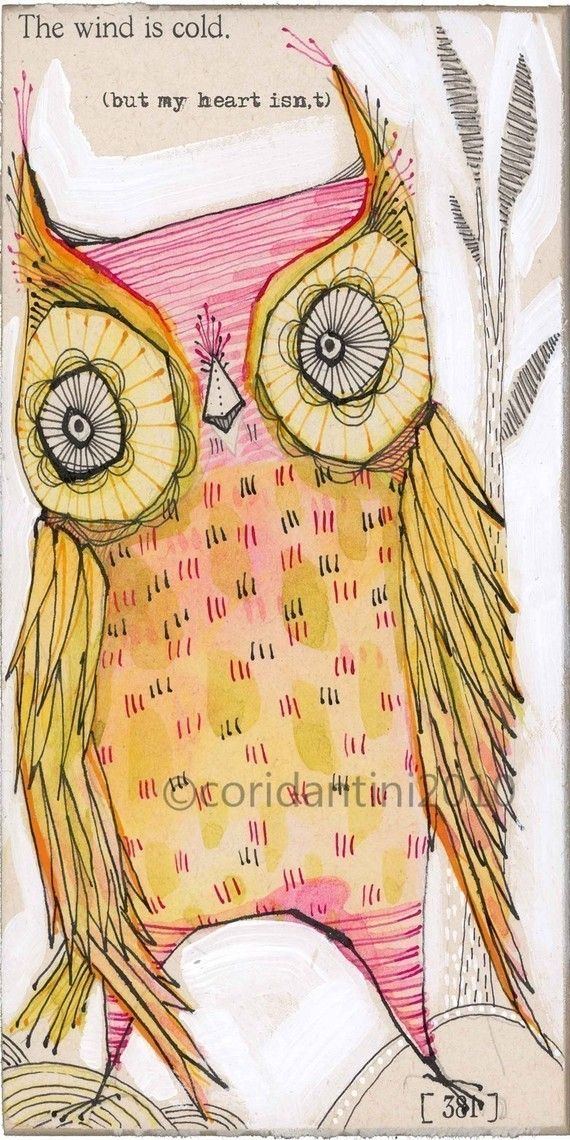 pink owl  illustration  5 x 10 inches  limited edition by corid, $20.00