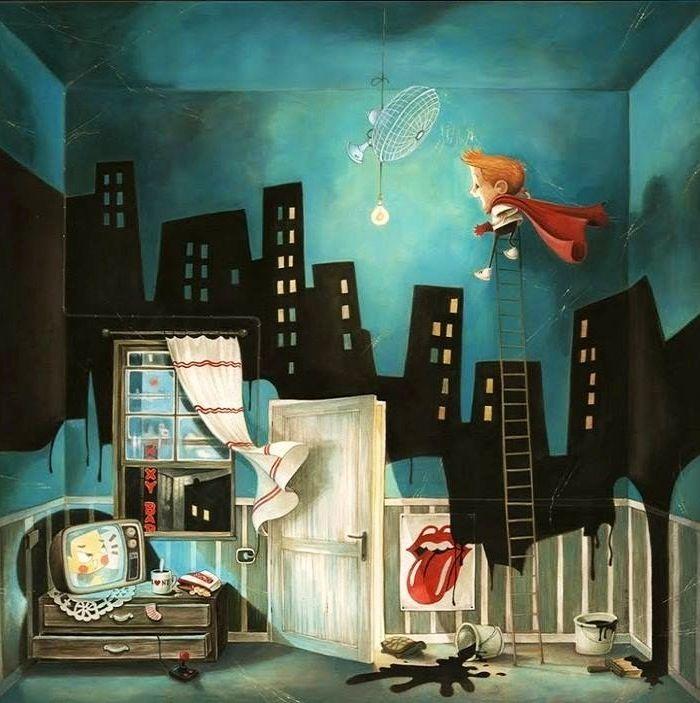 Boy in room cartoon illustration via www.Facebook.com/GleamOfDreams