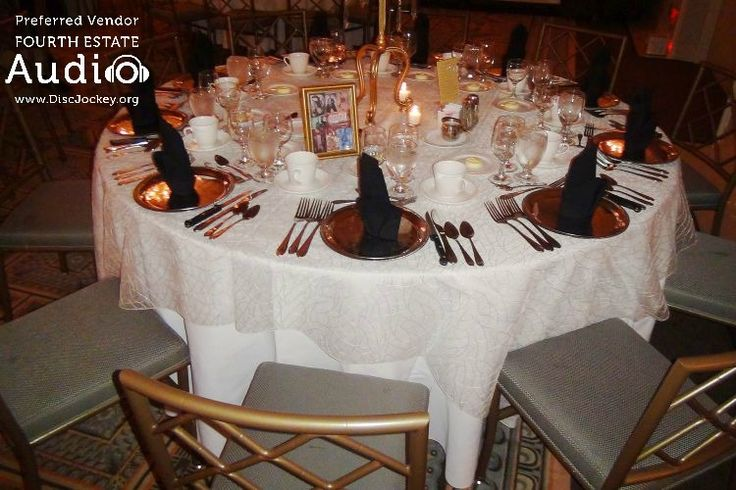 The guests' dinner tables at Drury Lane were elegantly appointed and decorated...