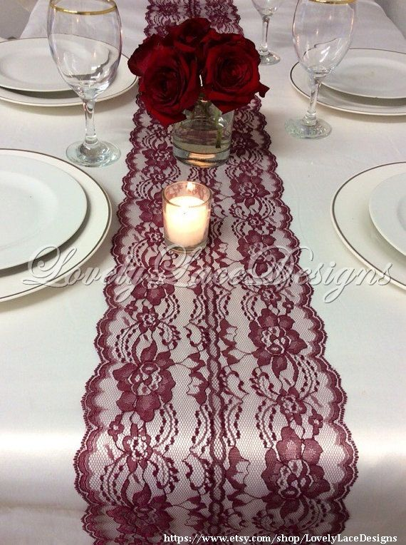 Lace Table Runner Wine LaceWedding Table by LovelyLaceDesigns