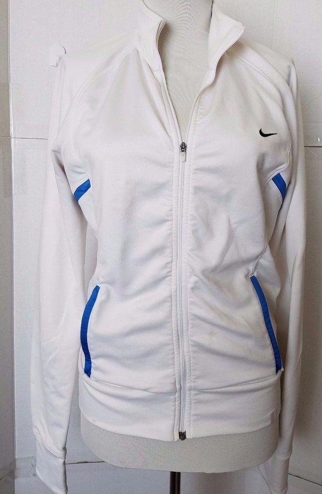 385712ef0 Nike Dri-Fit Womens Jacket Full Zip size S White Blue Stripe Running #Nike  #CoatsJackets   Nike   Jackets, Running jacket, Nike