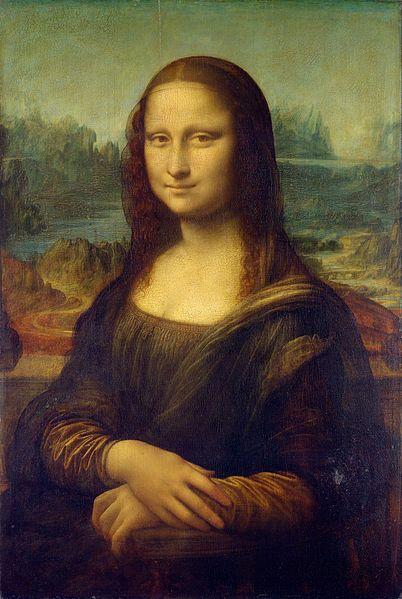 """Imagem original: Mona Lisa,Leonardo da Vinci, Renascimento Italiano - 1503. Também conhecida como La Gioconda, """"a sorridente"""" em italiano ou ainda Mona Lisa del Giocondo (""""Senhora Lisa [esposa] de Giocondo""""). É provavelmente a mais notável, conhecida e estudada obra de arte."""