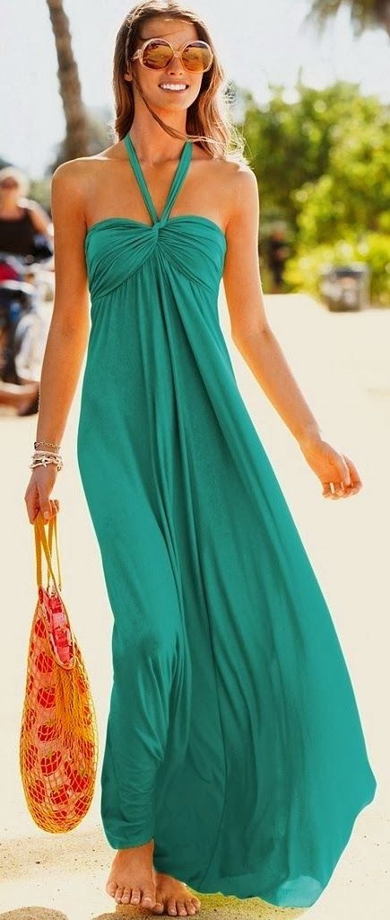 Stunning off shoulder maxi dress fashion cyan clothing women style apparel fashion outfit sunglasses beach summer | Gloss Fashionista
