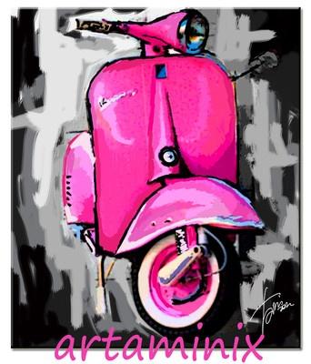 C'è vespa per tutti!! #piaggio #vintage #allcolor #madeinitaly #italia #moto #scooter #famous #art #paint #pink