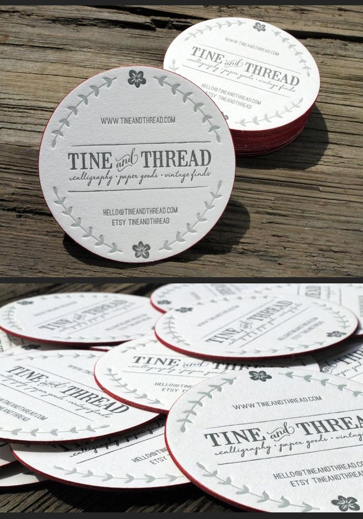 2 color letterpress round coaster business card w/red edge print : Created by Print & Grain | Letterpress and Design Studio : Original Tine and Thread logo created by Summit Avenue Design