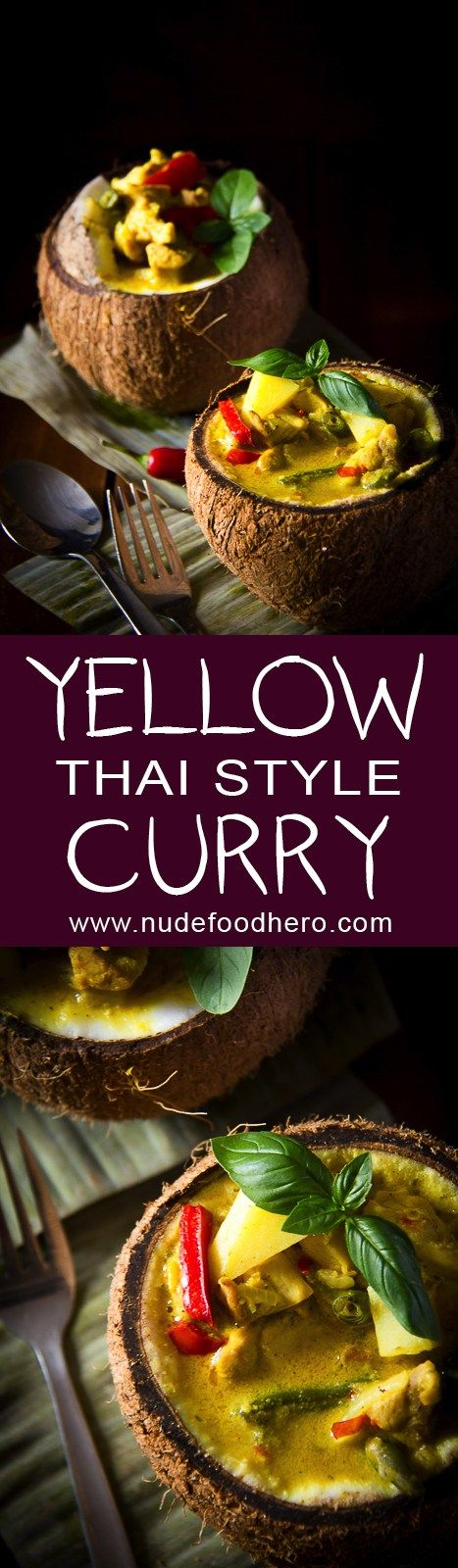 Thai Yellow-Curry Served in a Coconut NOTE: Add ginger at beginning, swap baby corn for green beens and garnish with cashews