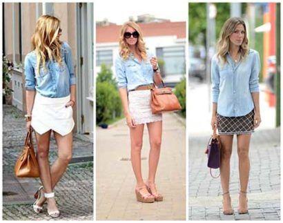 saias justas jeans com camisa jeans