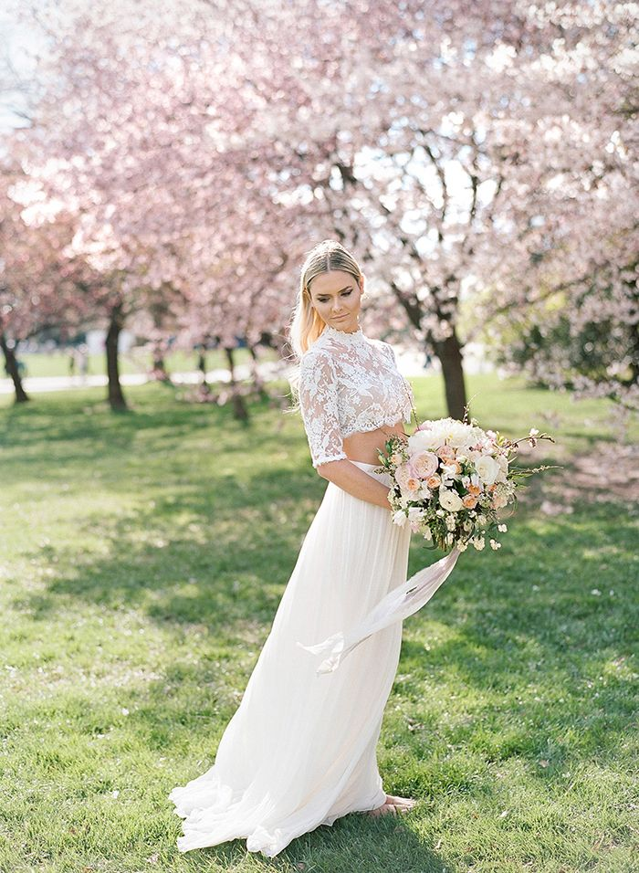 Ethereal Spring Cherry Blossom Bridal Shoot