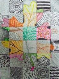 Herfstblad in vierkantjes