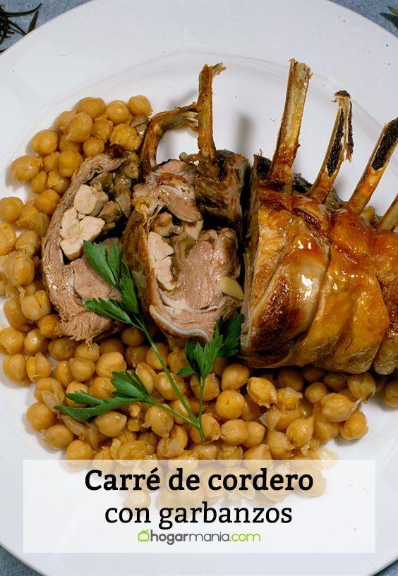 Receta de Karlos Arguiñano de carré de cordero con garbanzos.